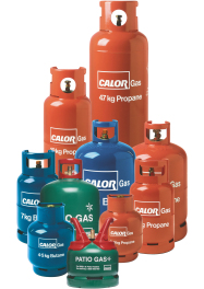 13kg, 19kg and 47kg Propane Gas, with 12kg and 18kg Black Top Forklift Cylinders